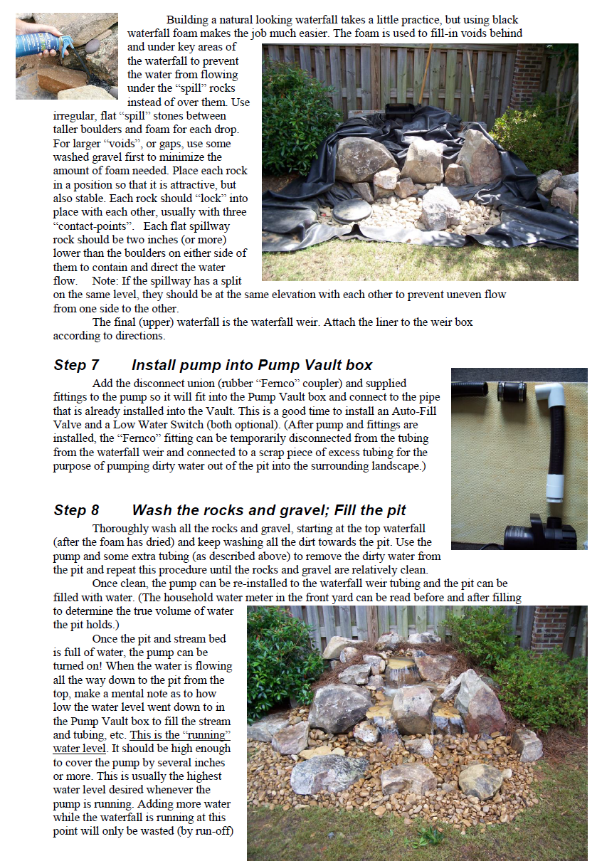 How to construct a pondless waterfall south pleasantburg for Build your own waterfall pond